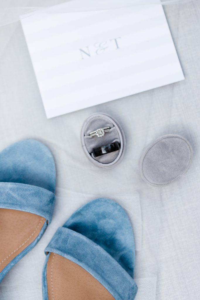 Flat lay with velvet ring box.